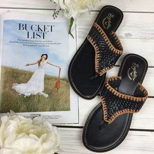 Seychelles Black Woven Summer Sandals